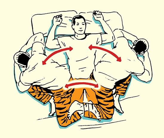 Rotational sit up stretch morning stretching routine illustration.