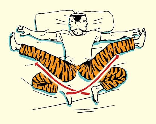 hamstring kick stretch morning stretching routine illustration