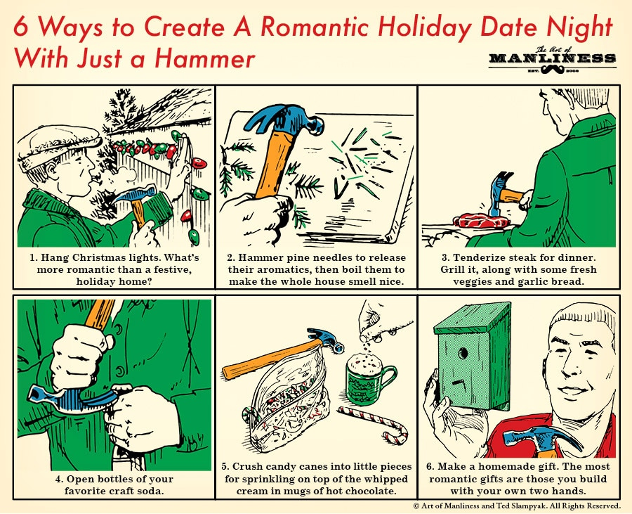create a romantic holiday date night illustration