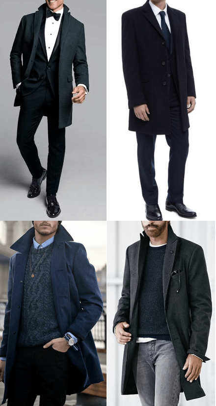 overcoat with casual and formal outfits black tie jeans
