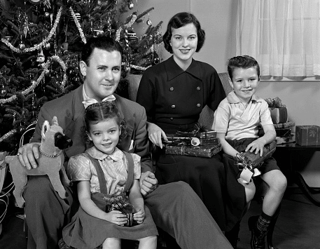 vintage 1950s family christmas portrait tree