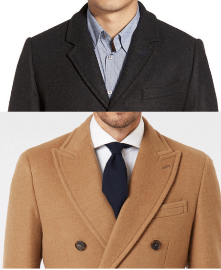 peak versus notched lapel overcoat comparison
