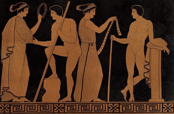 ancient pottery engraving men talking with women