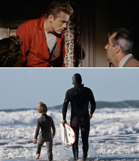 rebel without a cause son surfing with dad juxtaposition