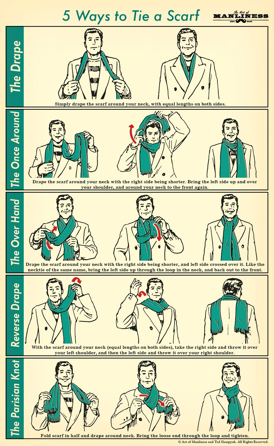 How to tie a mens scarf 5 masculine styles the art of manliness 5 ways to tie a scarf your 60 second visual guide ccuart Choice Image