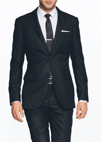 black suit modern tight fit with black tie white shirt