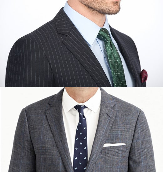 Suit shoulders with ties.