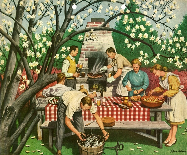 vintage bbq party outdoors picnic table painting