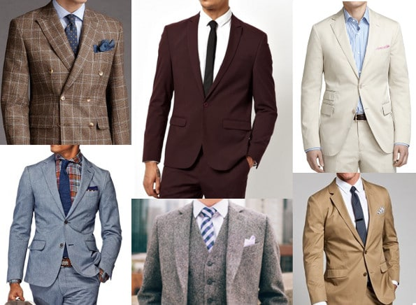 collage of suits plaid wool brown beige