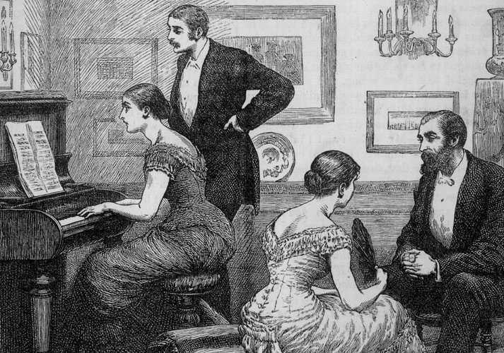 VICTORIAN DRAWING ROOM The lady at right fans herself in conversation while her friend displays her musical talents
