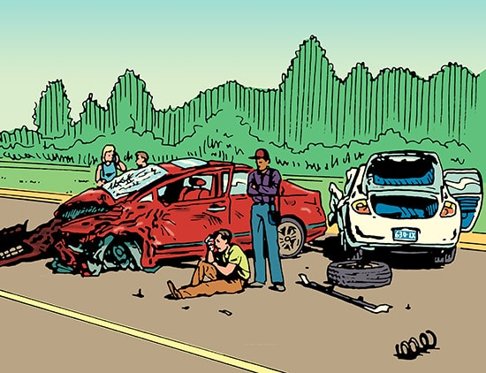 car accident on road two cars illustration
