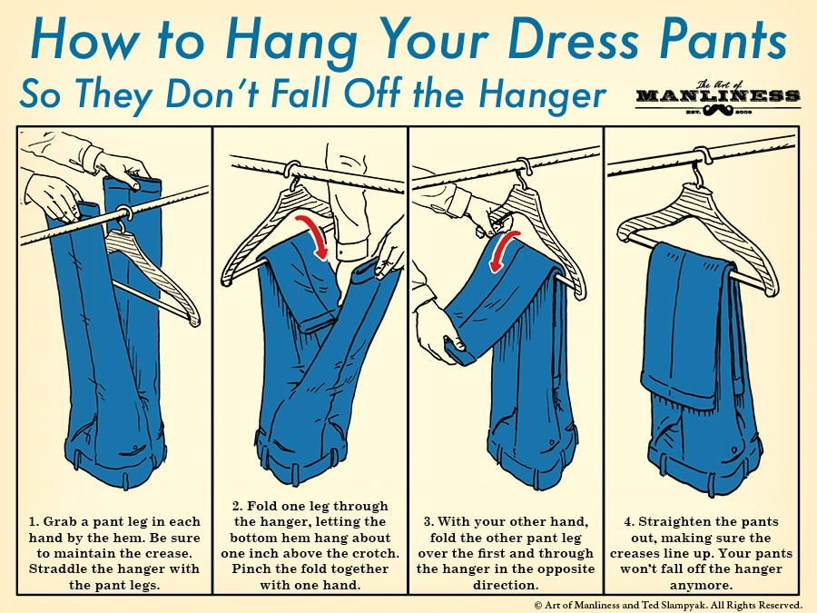 how to hang dress pants on a hanger illustration diagram