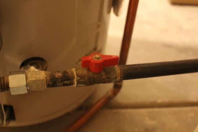 A gas shut off valve for a hot water heater.