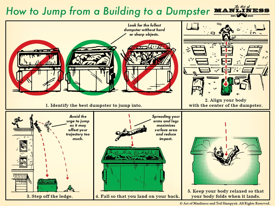 How to Jump from a Building Into a Dumpster | The Art of Manliness