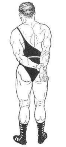 vintage oldtime strongman exercise bodyweight tricep extension illustration