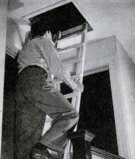 vintage man on ladder going into attic in house
