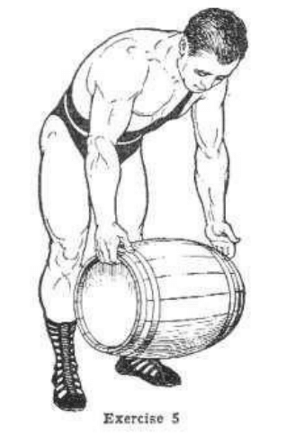 Strongman bodybuilder doing exercise for lifting keg with fingers illustration.