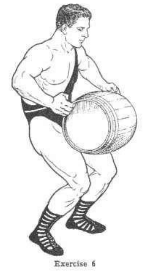 Strongman bodybuilder doing exercise for lifting barrel on legs illustration.