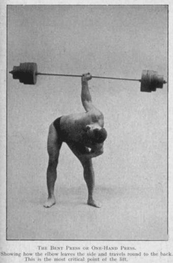 vintage oldtime strongman exercise barbell bent press illustration