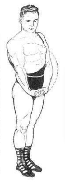 vintage oldtime strongman exercise bodyweight bicep curl illustration