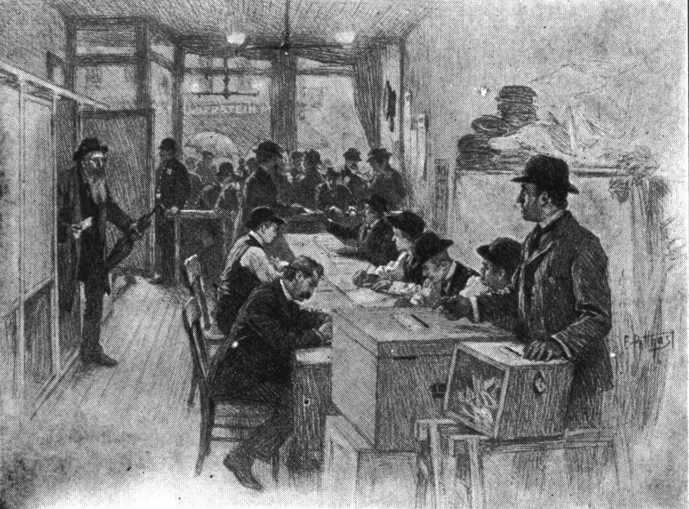 citizens voting in early victorian election black white drawing