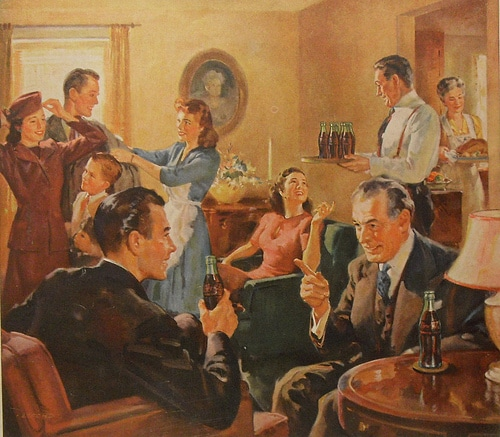painting of a house party guests talking having coca cola