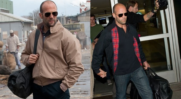 jason statham wearing harrington blouson jacket khaki navy