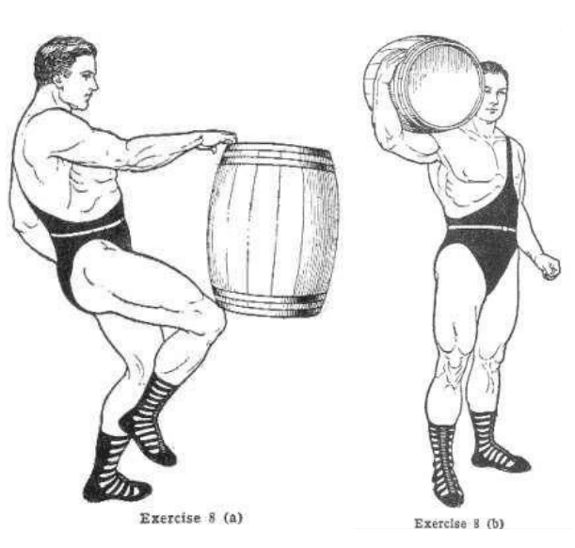 Strongman bodybuilder doing exercise for barrel shoulder lift illustration.