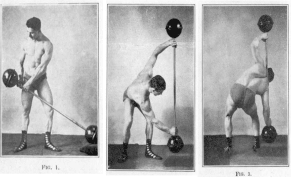 vintage oldtime strongman exercise knee bend barbell illustration