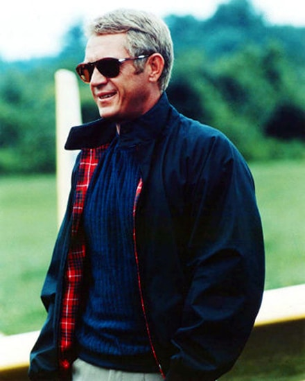 steve mcqueen wearing harrington blouson jacket navy