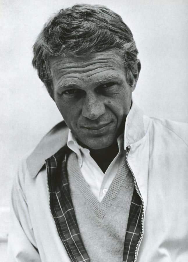steve mcqueen black white wearing harrington blouson jacket over sweater