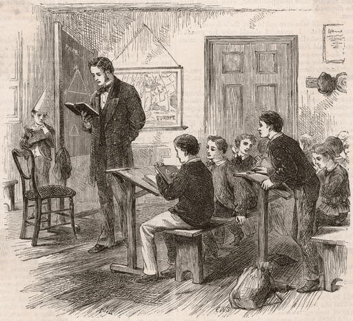 victorian school classroom young boy dunce cap in corner drawing
