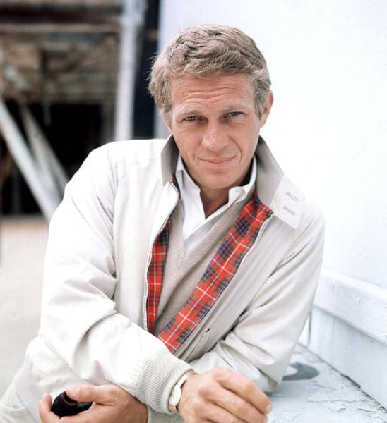 steve mcqueen wearing khaki harrington blouson jacket