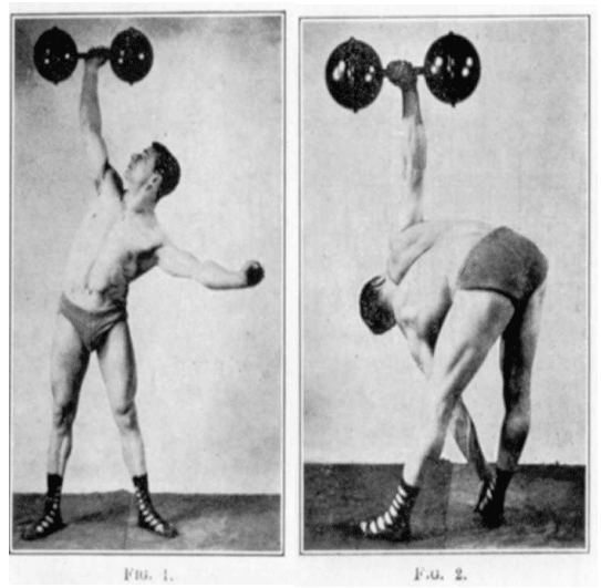 vintage oldtime strongman exercise dumbbell windmill bend illustration