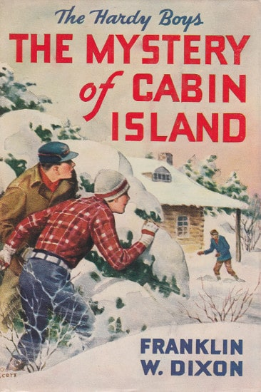 Book cover, the mystery of cabin island by Franklin w dixon.
