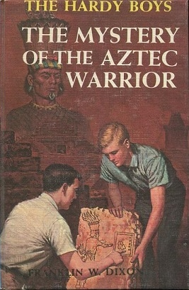 Book cover, the mystery of the aztec warrior by Franklin w dixon.