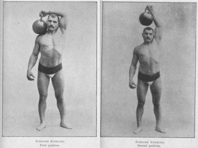 vintage oldtime strongman exercise kettlebell extension