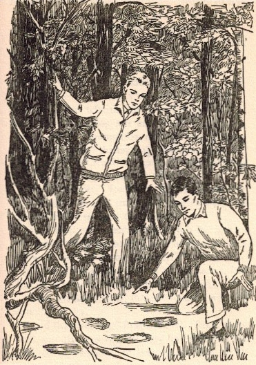 The boys finding footprints in the woods illustration.