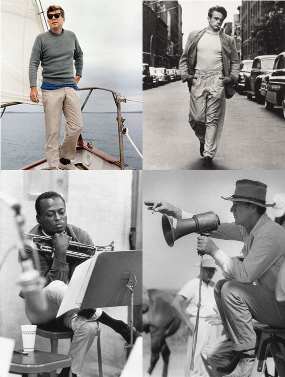 famous men wearing khakis jfk john wayne james dean