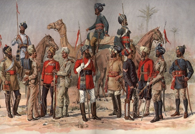 madras british calvary unit in india painting