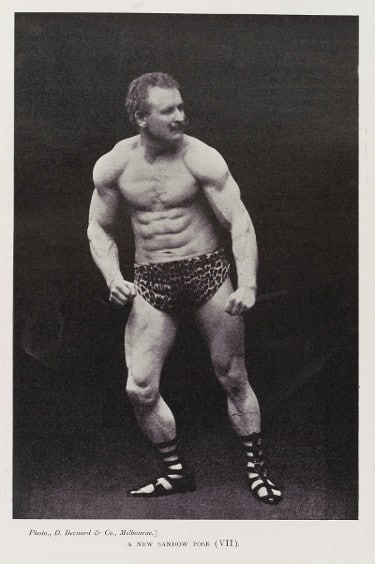 vintage oldtime strongman sandow bodybuilder posing flexing