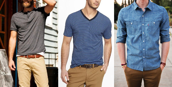 Men wearing different styles of tees shirt.