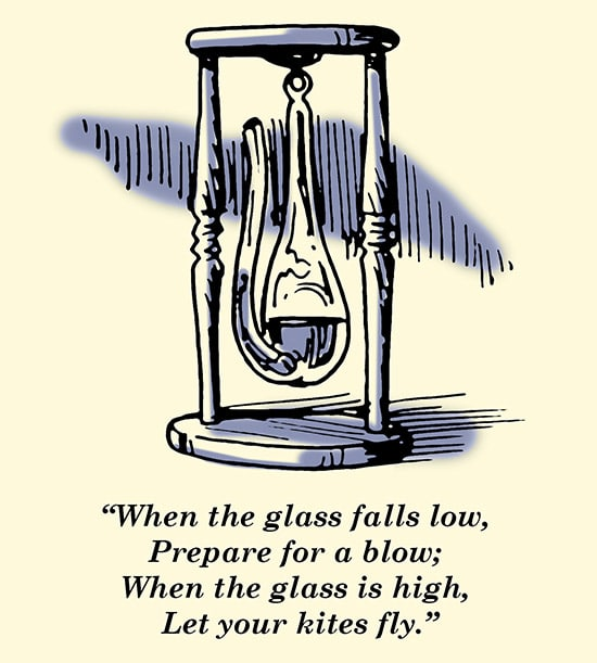 vintage old time barometer weather proverb illustration