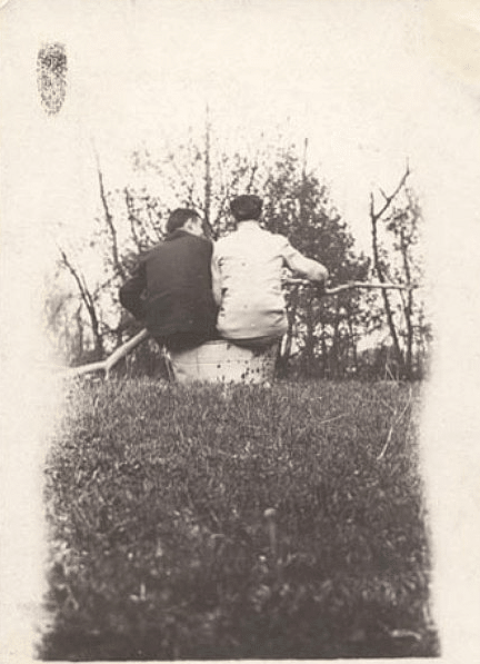 vintage friends talking sitting outdoors