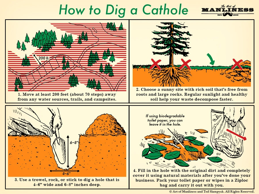 How to dig a cathole poop in the woods illustration.