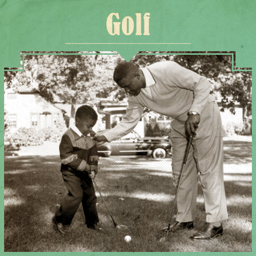 Vintage Father and Child Playing Golf.