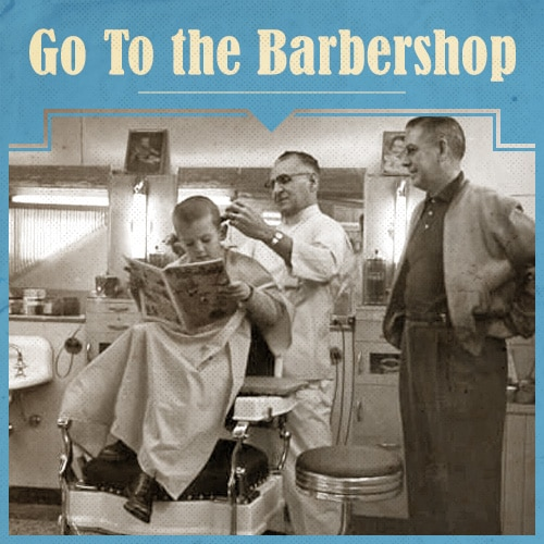 Vintage Father and Child on Barber Shop.