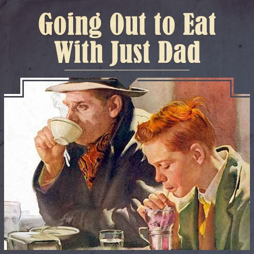 Father and Child Lunch illustration.