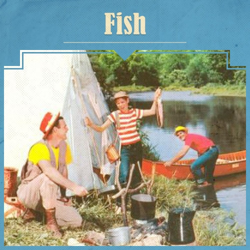 Father and Children Fishing illustration.