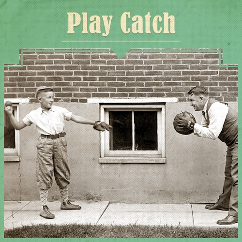 Vintage Father and Child Playing Catch.